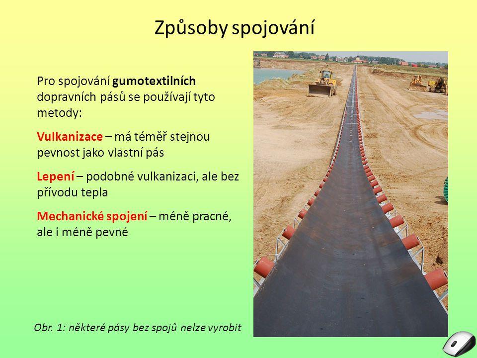 Způsoby spojování Pro spojování gumotextilních dopravních pásů se používají tyto metody: Vulkanizace – má téměř stejnou pevnost jako vlastní pás Lepen