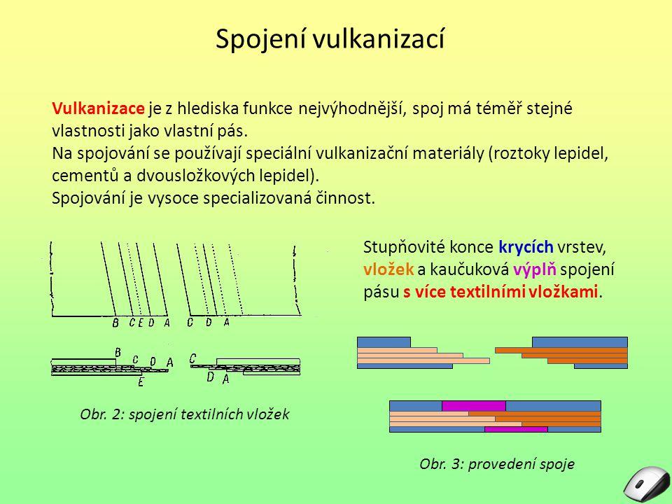 Spojení vulkanizací Vulkanizace je z hlediska funkce nejvýhodnější, spoj má téměř stejné vlastnosti jako vlastní pás. Na spojování se používají speciá