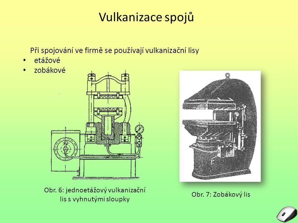 Vulkanizace spojů Při spojování ve firmě se používají vulkanizační lisy etážové zobákové Obr. 7: Zobákový lis Obr. 6: jednoetážový vulkanizační lis s