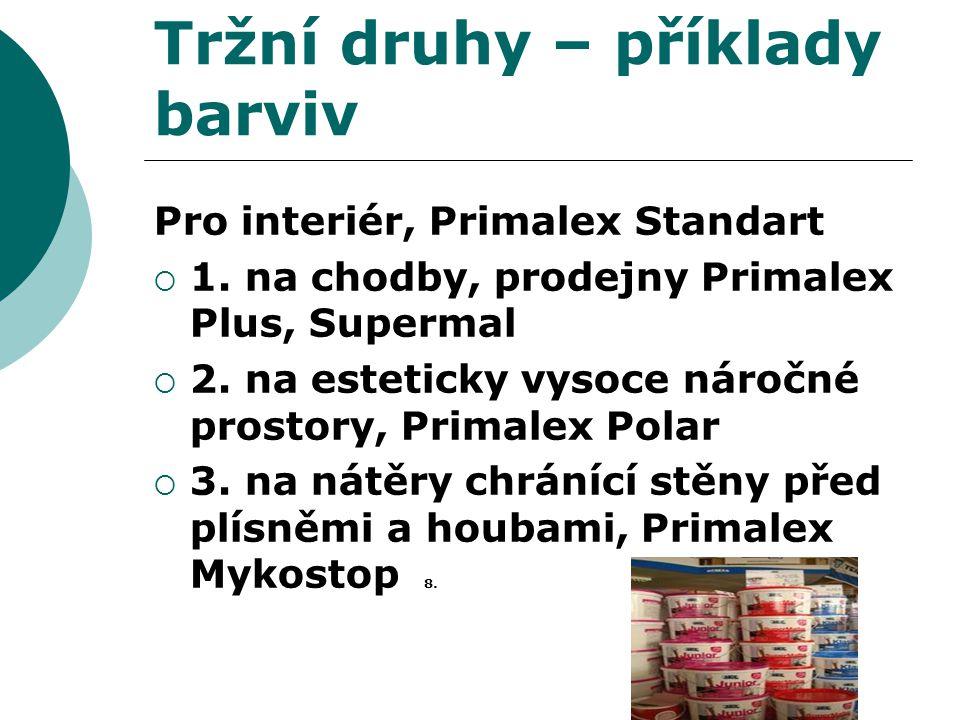 Tržní druhy – příklady barviv Pro interiér, Primalex Standart  1. na chodby, prodejny Primalex Plus, Supermal  2. na esteticky vysoce náročné prosto