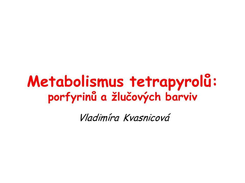 Metabolismus tetrapyrolů: porfyrinů a žlučových barviv Vladimíra Kvasnicová