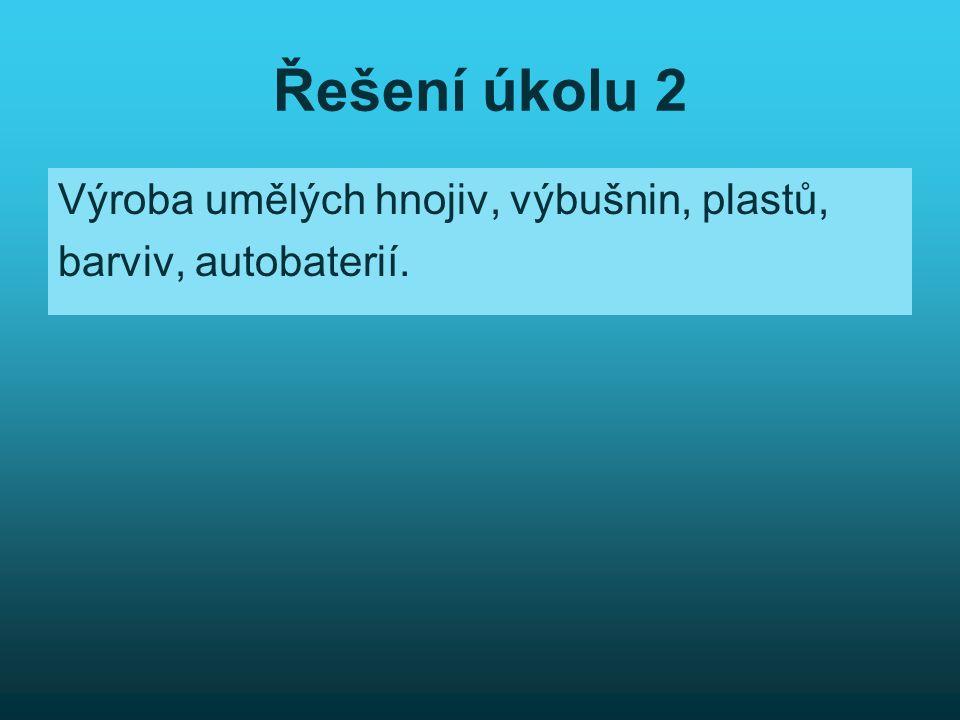 Řešení úkolu 2 Výroba umělých hnojiv, výbušnin, plastů, barviv, autobaterií.