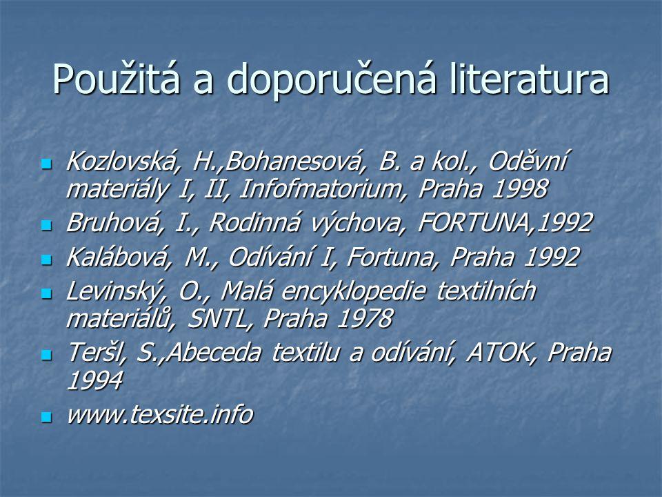 Použitá a doporučená literatura Kozlovská, H.,Bohanesová, B. a kol., Oděvní materiály I, II, Infofmatorium, Praha 1998 Kozlovská, H.,Bohanesová, B. a