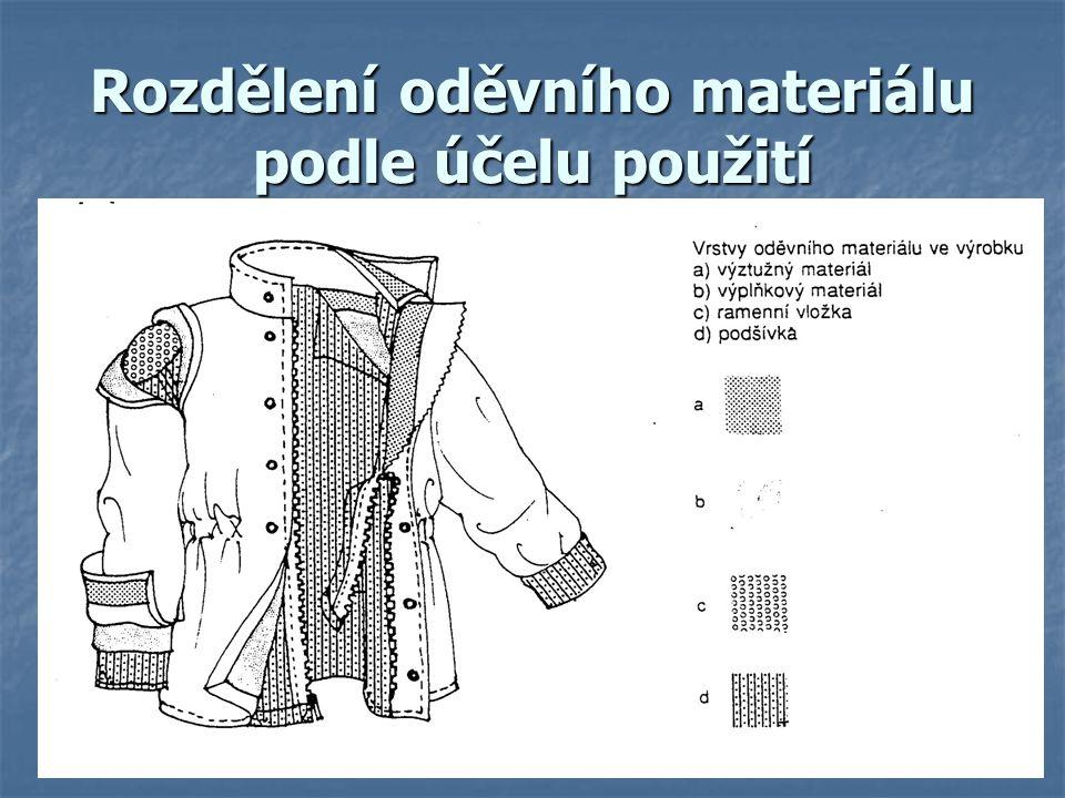 Rozdělení oděvního materiálu podle účelu použití