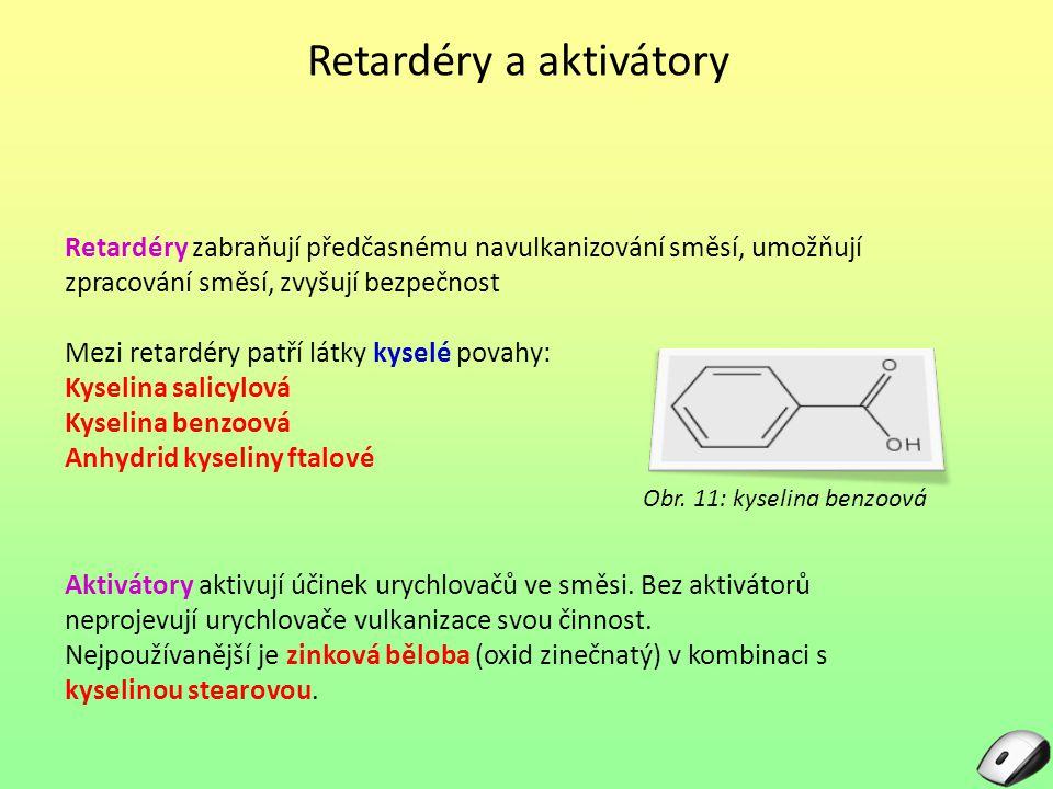 Retardéry a aktivátory Retardéry zabraňují předčasnému navulkanizování směsí, umožňují zpracování směsí, zvyšují bezpečnost Mezi retardéry patří látky kyselé povahy: Kyselina salicylová Kyselina benzoová Anhydrid kyseliny ftalové Obr.