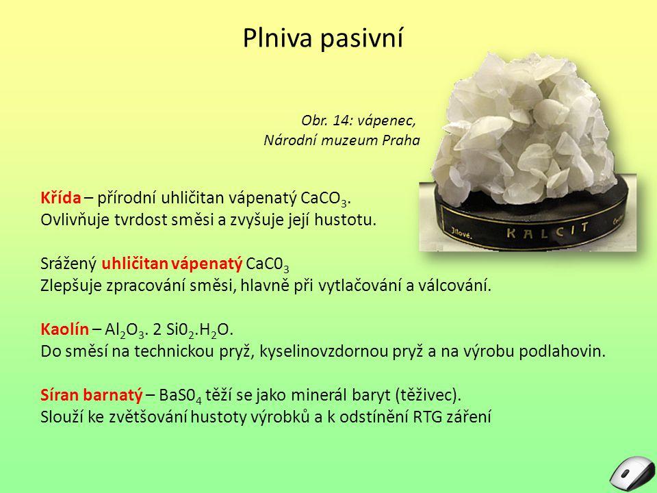 Plniva pasivní Křída – přírodní uhličitan vápenatý CaCO 3. Ovlivňuje tvrdost směsi a zvyšuje její hustotu. Srážený uhličitan vápenatý CaC0 3 Zlepšuje