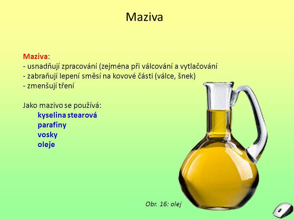 Maziva Maziva: - usnadňují zpracování (zejména při válcování a vytlačování - zabraňují lepení směsí na kovové části (válce, šnek) - zmenšují tření Jako mazivo se používá: kyselina stearová parafiny vosky oleje Obr.