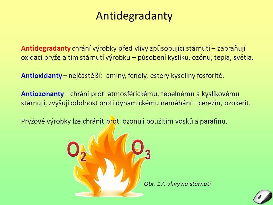 Antidegradanty Antidegradanty chrání výrobky před vlivy způsobující stárnutí – zabraňují oxidaci pryže a tím stárnutí výrobku – působení kyslíku, ozónu, tepla, světla.