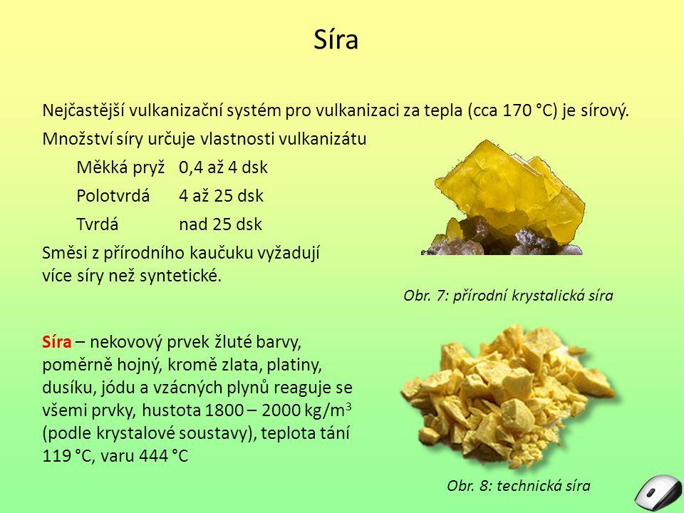Síra Síra – nekovový prvek žluté barvy, poměrně hojný, kromě zlata, platiny, dusíku, jódu a vzácných plynů reaguje se všemi prvky, hustota 1800 – 2000 kg/m 3 (podle krystalové soustavy), teplota tání 119 °C, varu 444 °C Obr.