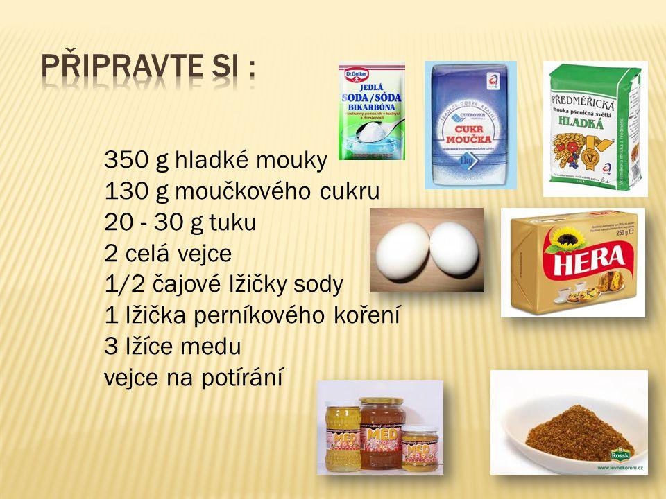 350 g hladké mouky 130 g moučkového cukru 20 - 30 g tuku 2 celá vejce 1/2 čajové lžičky sody 1 lžička perníkového koření 3 lžíce medu vejce na potírání