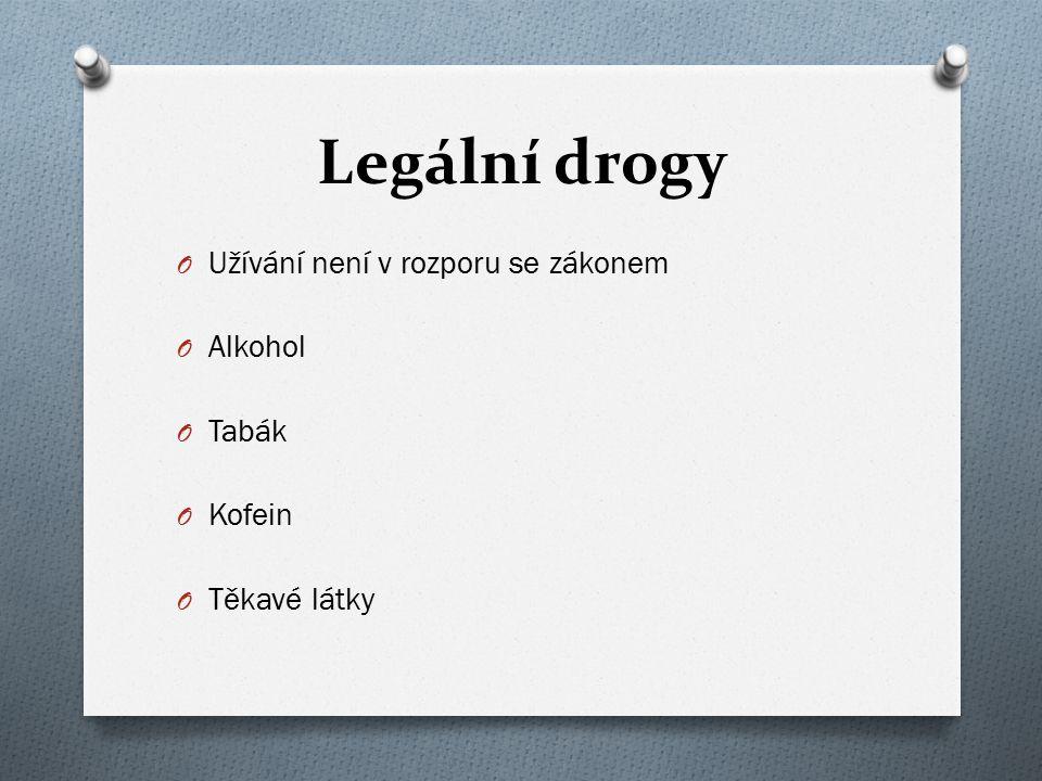 O Užívání není v rozporu se zákonem O Alkohol O Tabák O Kofein O Těkavé látky
