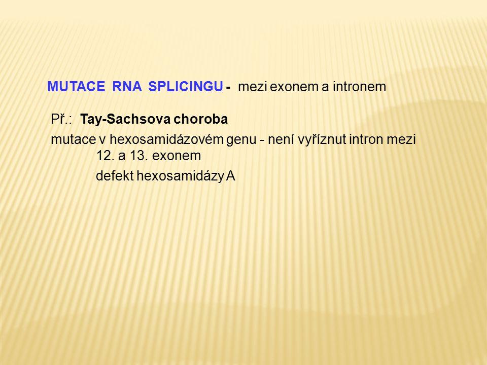 MUTACE RNA SPLICINGU - mezi exonem a intronem Př.: Tay-Sachsova choroba mutace v hexosamidázovém genu - není vyříznut intron mezi 12. a 13. exonem def