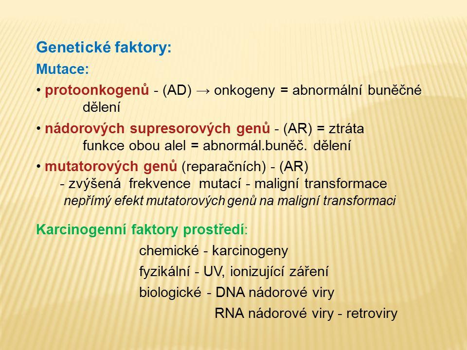 Genetické faktory: Mutace: protoonkogenů - (AD) → onkogeny = abnormální buněčné dělení nádorových supresorových genů - (AR) = ztráta funkce obou alel