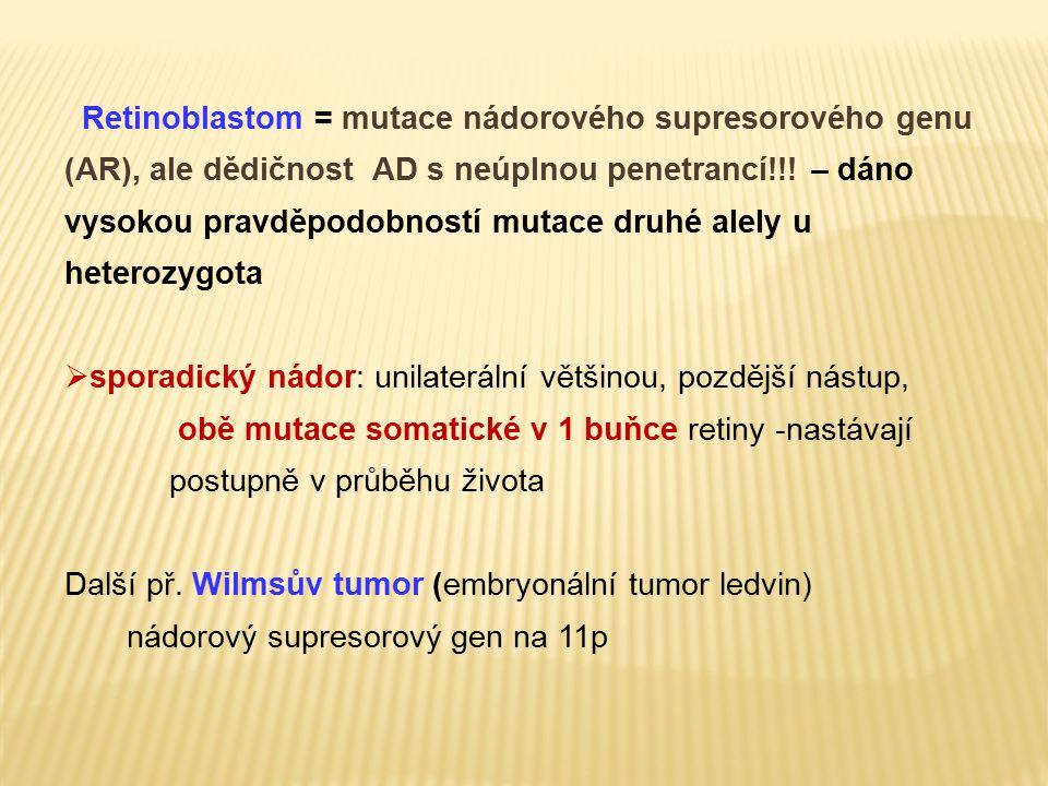 Retinoblastom = mutace nádorového supresorového genu (AR), ale dědičnost AD s neúplnou penetrancí!!! – dáno vysokou pravděpodobností mutace druhé alel