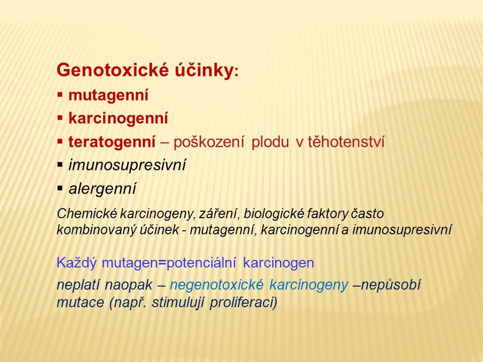 Genotoxické účinky :  mutagenní  karcinogenní  teratogenní – poškození plodu v těhotenství  imunosupresivní  alergenní Chemické karcinogeny, záře