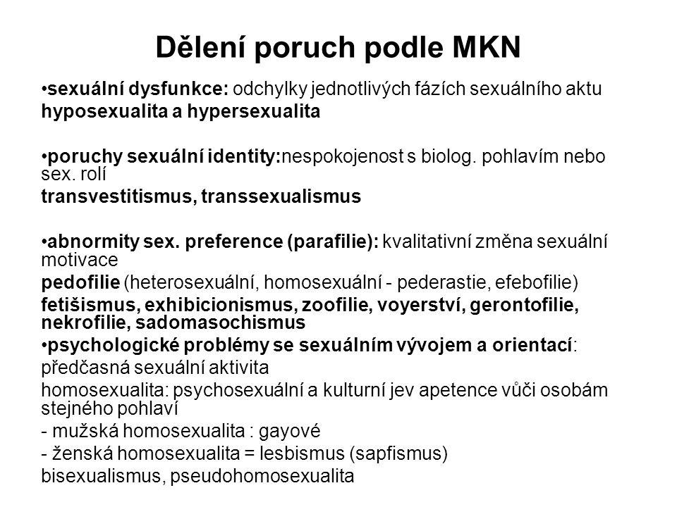 Dělení poruch podle MKN sexuální dysfunkce: odchylky jednotlivých fázích sexuálního aktu hyposexualita a hypersexualita poruchy sexuální identity:nespokojenost s biolog.