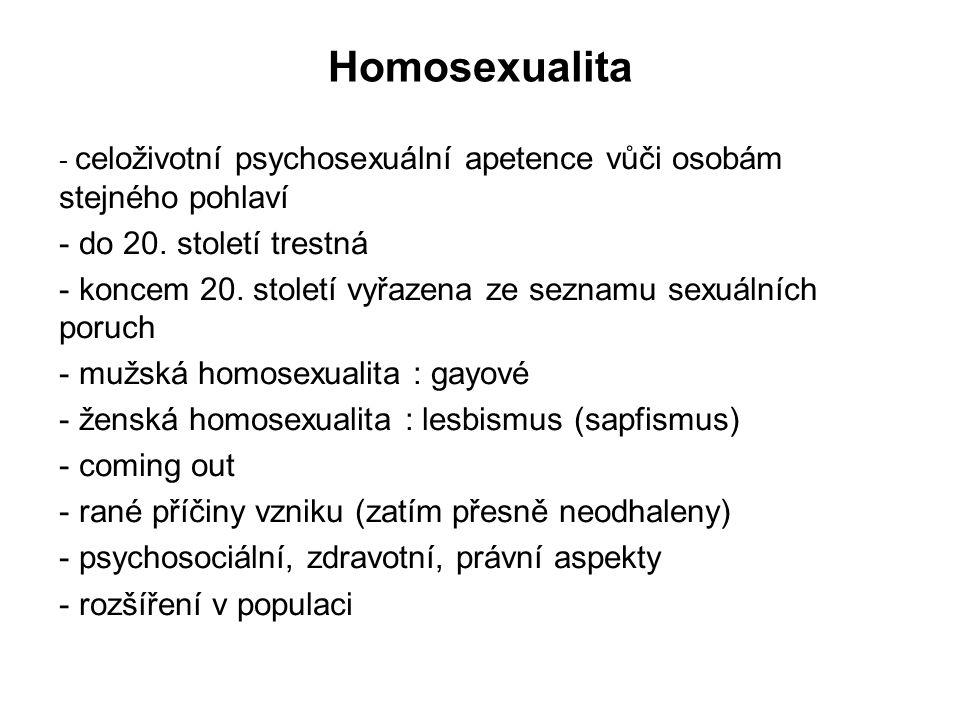 Sociální problémy sexuálního života 1 promiskuita (promiscuus = promíchaný, střídavý): typ sexuálního chování charakterizovaný častým náhodným střídáním sexuálních partnerů příčiny: - zvýšená sexuální apetence - projev neurózy nebo specif.