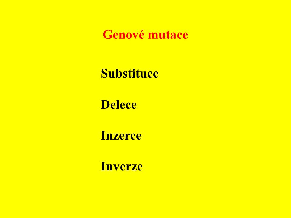 Genové mutace Substituce Delece Inzerce Inverze