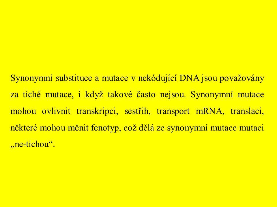 Synonymní substituce a mutace v nekódující DNA jsou považovány za tiché mutace, i když takové často nejsou. Synonymní mutace mohou ovlivnit transkripc