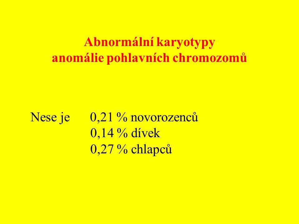 Abnormální karyotypy anomálie pohlavních chromozomů Nese je 0,21 % novorozenců 0,14 % dívek 0,27 % chlapců
