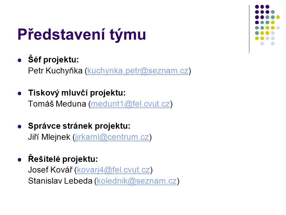Představení týmu Šéf projektu: Petr Kuchyňka (kuchynka.petr@seznam.cz)kuchynka.petr@seznam.cz Tiskový mluvčí projektu: Tomáš Meduna (medunt1@fel.cvut.cz)medunt1@fel.cvut.cz Správce stránek projektu: Jiří Mlejnek (jirkaml@centrum.cz)jirkaml@centrum.cz Řešitelé projektu: Josef Kovář (kovarj4@fel.cvut.cz)kovarj4@fel.cvut.cz Stanislav Lebeda (kolednik@seznam.cz)kolednik@seznam.cz