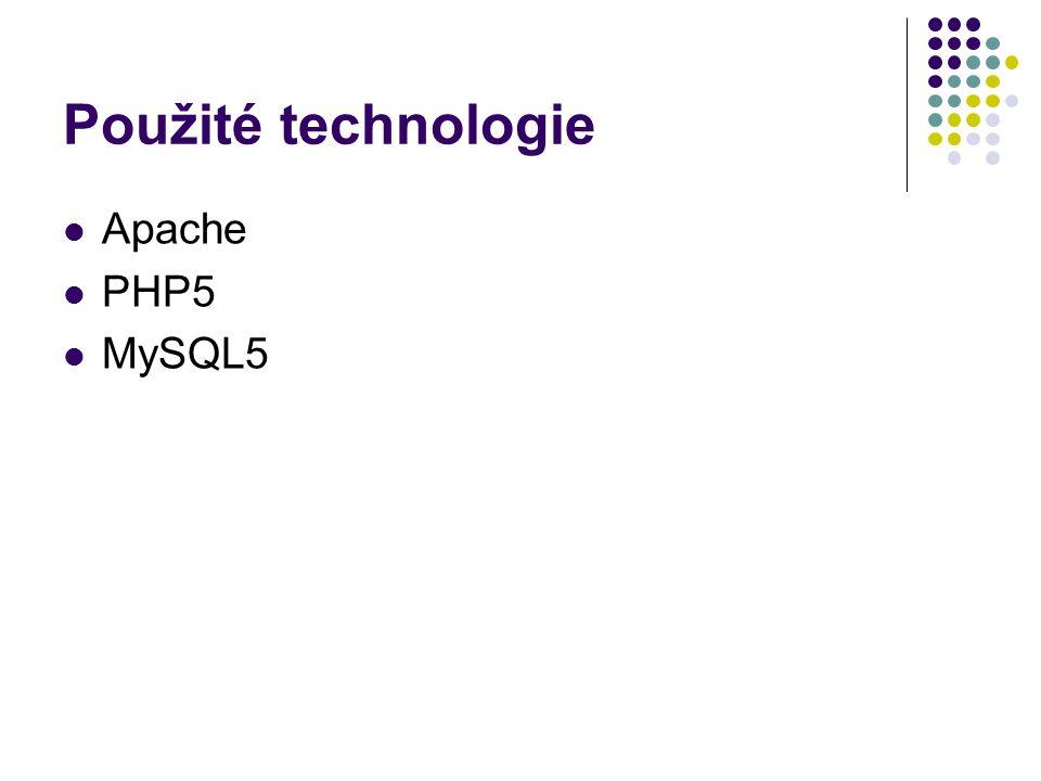 Použité technologie Apache PHP5 MySQL5