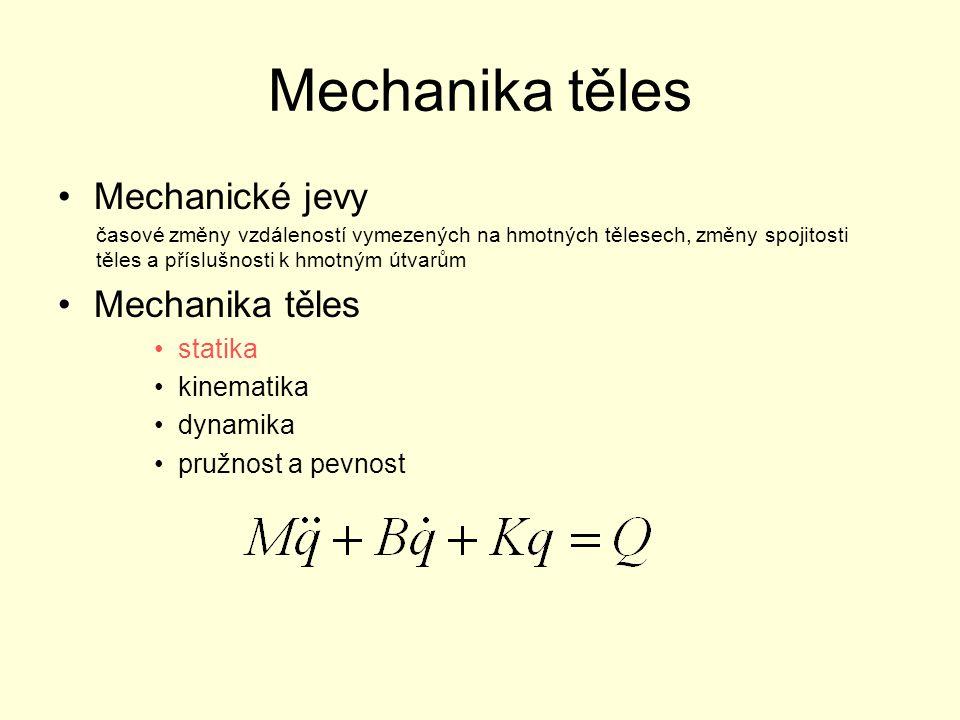 """Základní pojmy Prostor spojitý trojrozměrný izotropní euklidovský absolutní inerciální Těleso reálné abstraktní - reálný objekt, jehož hmota je ve formě látky v tuhém skupenství a má tyto vlastnosti: »tvoří celek »je soudržné »je neprostupné »je deformovatelné Každé těleso je deformovatelné, ve statice deformace vědomě zanedbáváme – """"tuhé těleso !!!"""