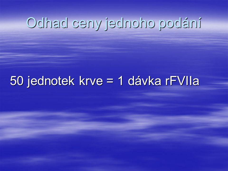 Odhad ceny jednoho podání 50 jednotek krve = 1 dávka rFVIIa