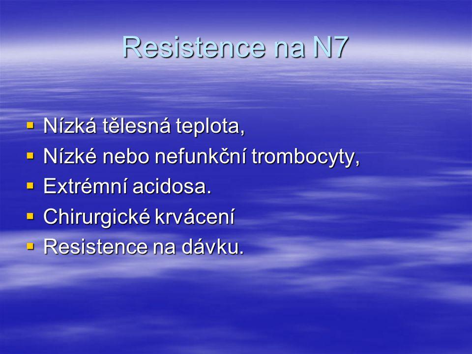 Resistence na N7  Nízká tělesná teplota,  Nízké nebo nefunkční trombocyty,  Extrémní acidosa.  Chirurgické krvácení  Resistence na dávku.