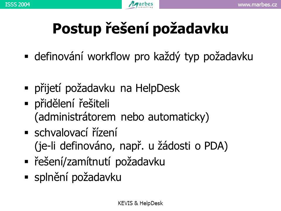 www.marbes.czISSS 2004 KEVIS & HelpDesk Postup řešení požadavku  definování workflow pro každý typ požadavku  přijetí požadavku na HelpDesk  přidělení řešiteli (administrátorem nebo automaticky)  schvalovací řízení (je-li definováno, např.