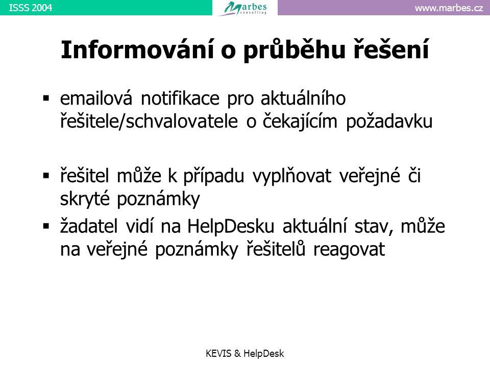 www.marbes.czISSS 2004 KEVIS & HelpDesk Informování o průběhu řešení  emailová notifikace pro aktuálního řešitele/schvalovatele o čekajícím požadavku  řešitel může k případu vyplňovat veřejné či skryté poznámky  žadatel vidí na HelpDesku aktuální stav, může na veřejné poznámky řešitelů reagovat