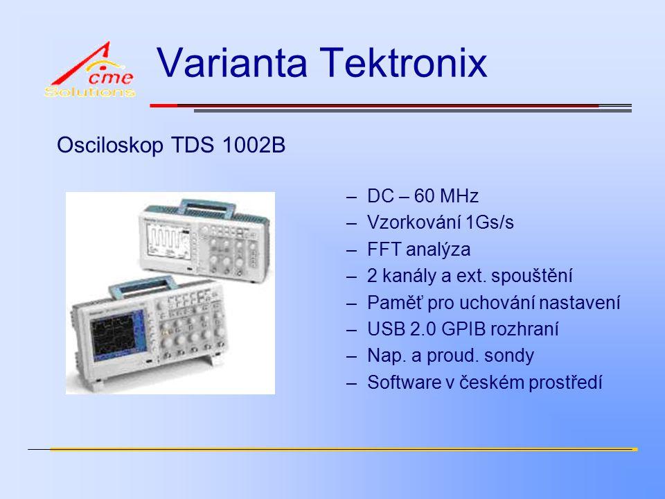 Varianta Tektronix Osciloskop TDS 1002B –DC – 60 MHz –Vzorkování 1Gs/s –FFT analýza –2 kanály a ext.