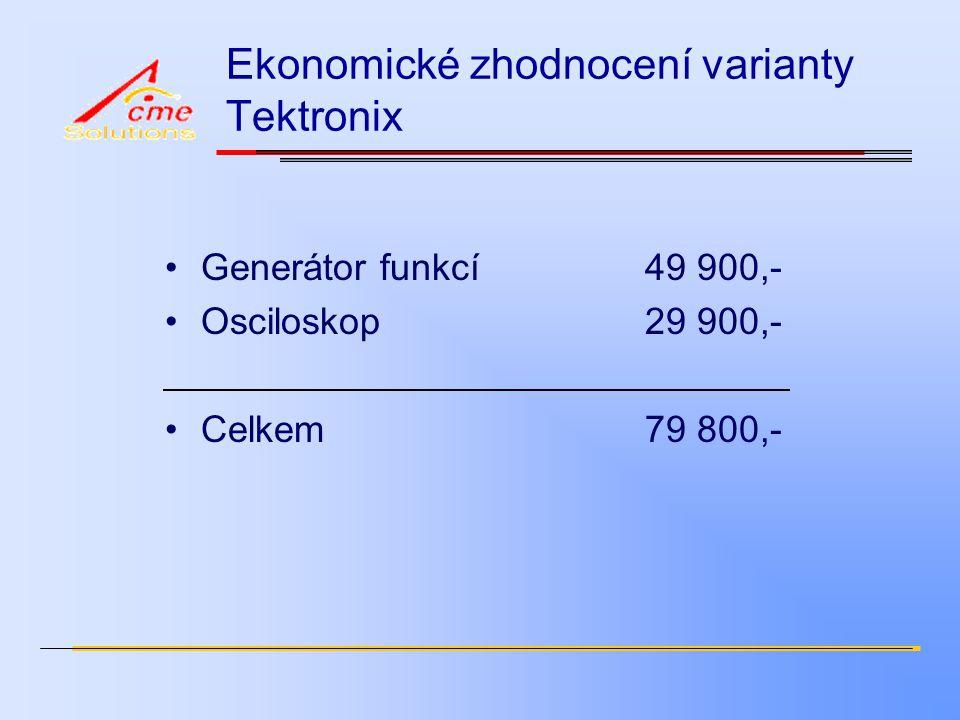 Ekonomické zhodnocení varianty Tektronix Generátor funkcí49 900,- Osciloskop29 900,- Celkem79 800,-