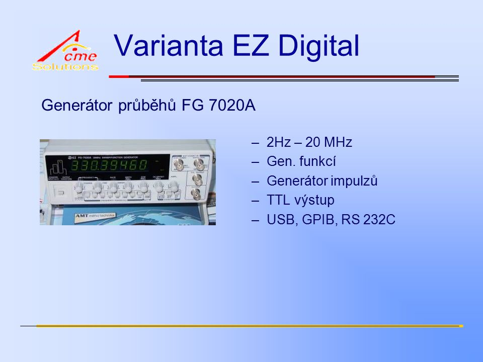 Varianta EZ Digital Generátor průběhů FG 7020A –2Hz – 20 MHz –Gen.