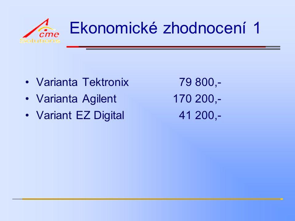 Ekonomické zhodnocení 1 Varianta Tektronix 79 800,- Varianta Agilent170 200,- Variant EZ Digital 41 200,-