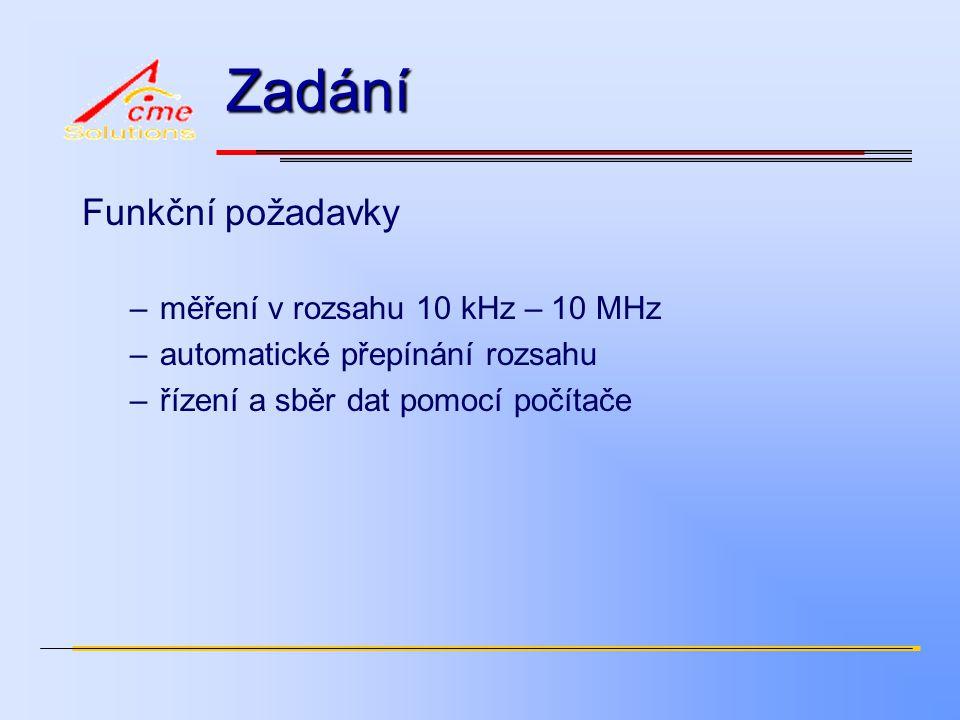 Zadání Funkční požadavky –měření v rozsahu 10 kHz – 10 MHz –automatické přepínání rozsahu –řízení a sběr dat pomocí počítače