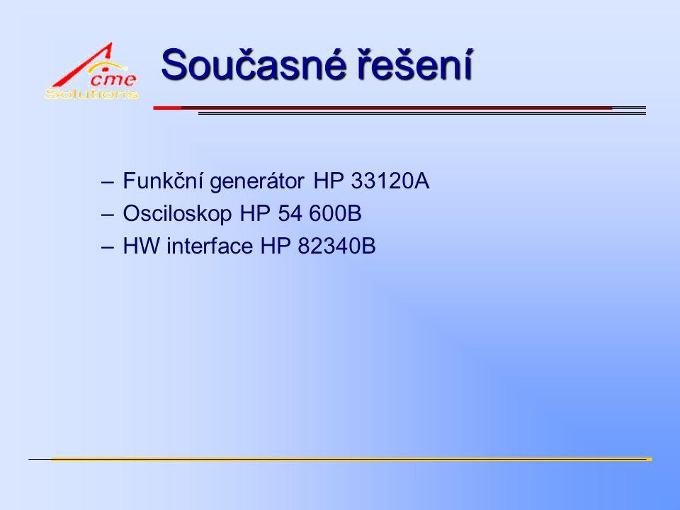 Současné řešení –Funkční generátor HP 33120A –Osciloskop HP 54 600B –HW interface HP 82340B