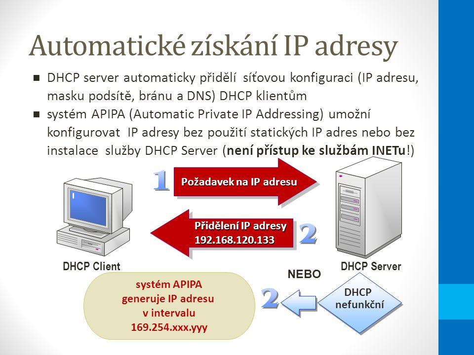 Automatické získání IP adresy Přidělení IP adresy 192.168.120.133 Přidělení IP adresy 192.168.120.133 DHCP ClientDHCP Server Požadavek na IP adresu Požadavek na IP adresu DHCP server automaticky přidělí síťovou konfiguraci (IP adresu, masku podsítě, bránu a DNS) DHCP klientům systém APIPA (Automatic Private IP Addressing) umožní konfigurovat IP adresy bez použití statických IP adres nebo bez instalace služby DHCP Server (není přístup ke službám INETu!) systém APIPA generuje IP adresu v intervalu 169.254.xxx.yyy DHCP nefunkční NEBO