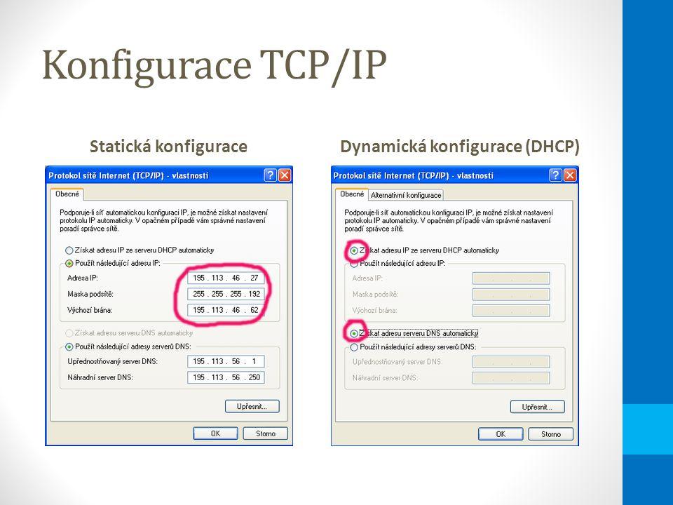 Konfigurace TCP/IP Statická konfiguraceDynamická konfigurace (DHCP)
