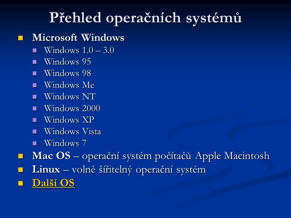 Přehled operačních systémů Microsoft Windows Microsoft Windows Windows 1.0 – 3.0 Windows 1.0 – 3.0 Windows 95 Windows 95 Windows 98 Windows 98 Windows