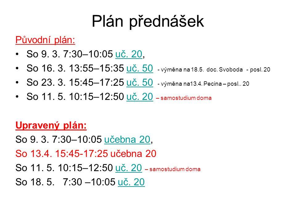 Plán přednášek Původní plán: So 9. 3. 7:30–10:05 uč. 20,uč. 20 So 16. 3. 13:55–15:35 uč. 50 - výměna na 18.5. doc. Svoboda - posl. 20uč. 50 So 23. 3.