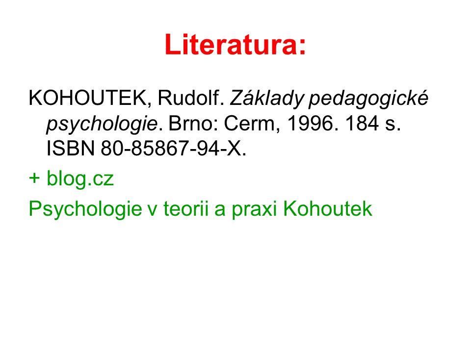 Literatura: KOHOUTEK, Rudolf. Základy pedagogické psychologie. Brno: Cerm, 1996. 184 s. ISBN 80-85867-94-X. + blog.cz Psychologie v teorii a praxi Koh