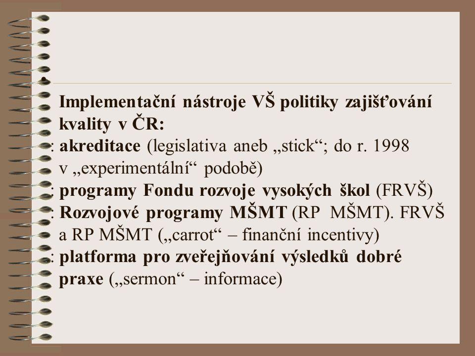 """Implementační nástroje VŠ politiky zajišťování kvality v ČR: : akreditace (legislativa aneb """"stick ; do r."""