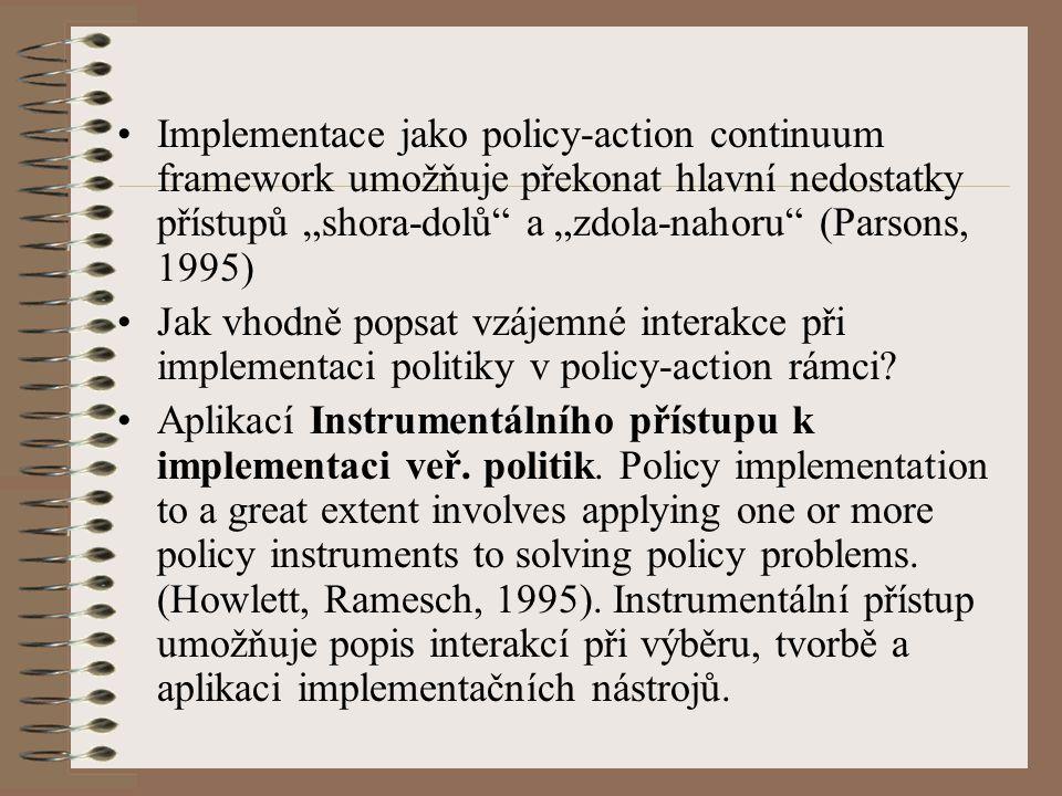"""Žádná jednotně uznávaná typologie veřejně- politických nástrojů, v práci využita """"carrot (legislativa) - stick (finance) - sermon (informace) typologie (Vedung, 1998)."""