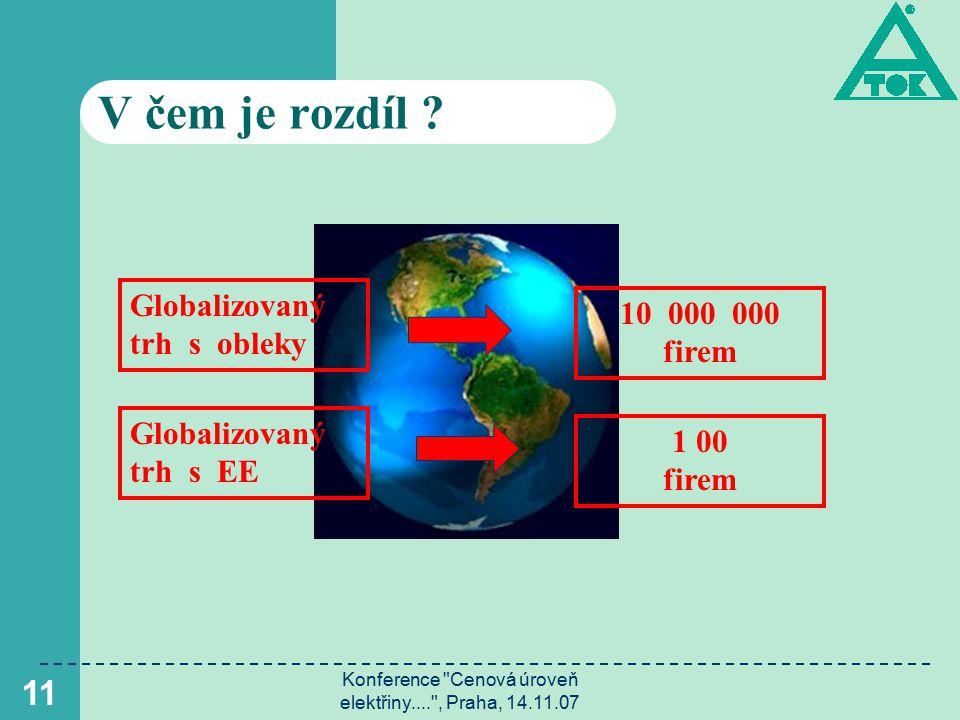 Konference Cenová úroveň elektřiny.... , Praha, 14.11.07 12 V čem je rozdíl .