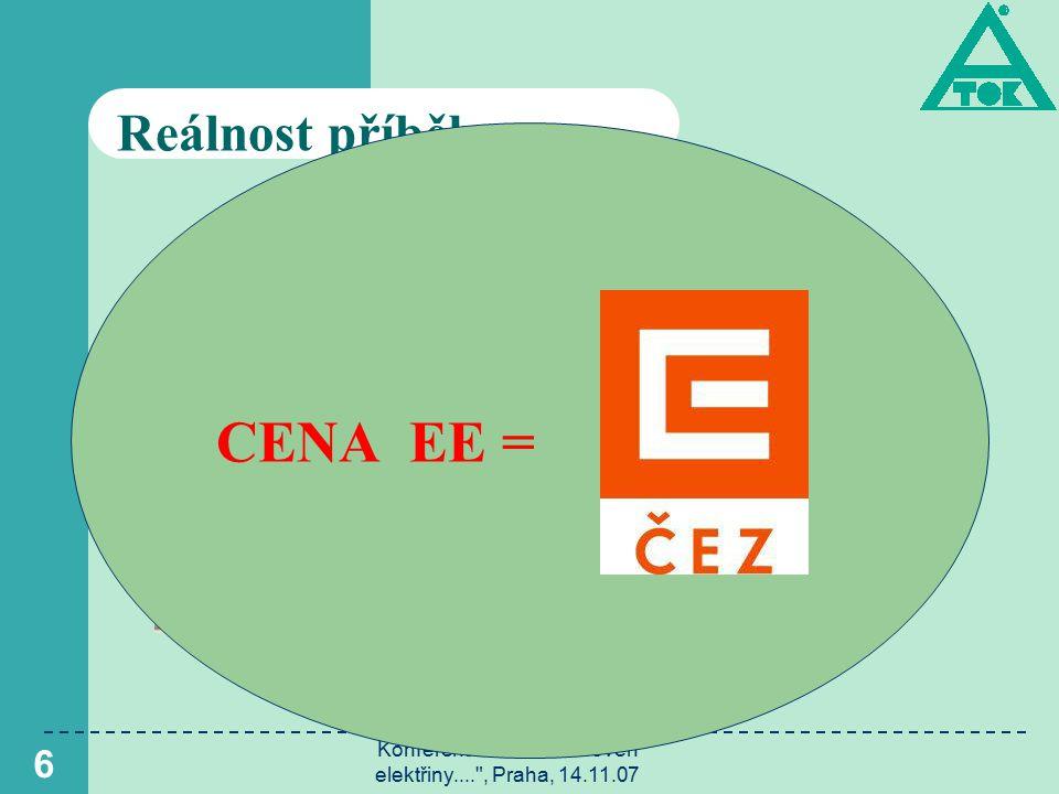 Konference Cenová úroveň elektřiny.... , Praha, 14.11.07 6 Reálnost příběhu Minimální cena 20 000 Kč CENA EE =