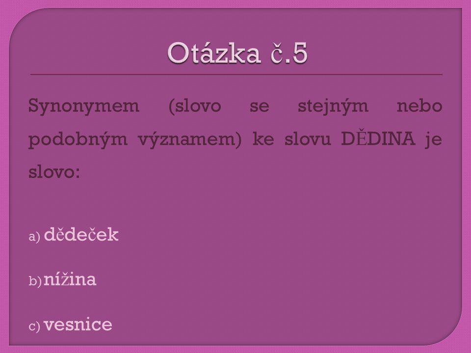 Synonymem (slovo se stejným nebo podobným významem) ke slovu D Ě DINA je slovo: a) d ě de č ek b) ní ž ina c) vesnice