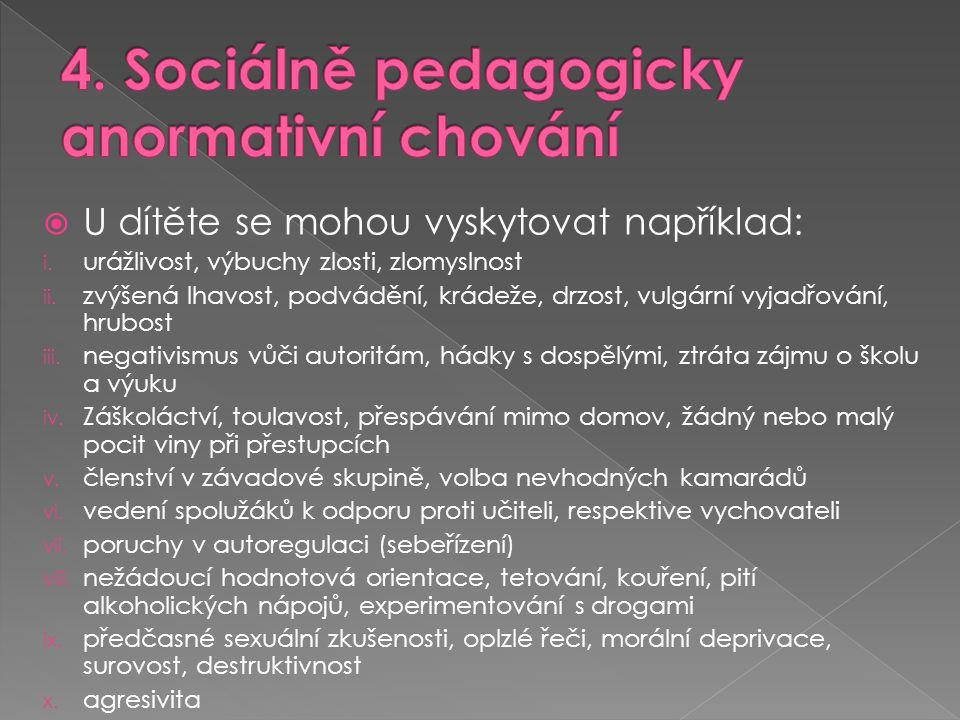  U dítěte se mohou vyskytovat například: i. urážlivost, výbuchy zlosti, zlomyslnost ii. zvýšená lhavost, podvádění, krádeže, drzost, vulgární vyjadřo