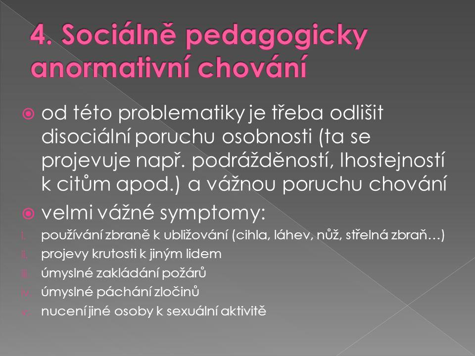  od této problematiky je třeba odlišit disociální poruchu osobnosti (ta se projevuje např. podrážděností, lhostejností k citům apod.) a vážnou poruch