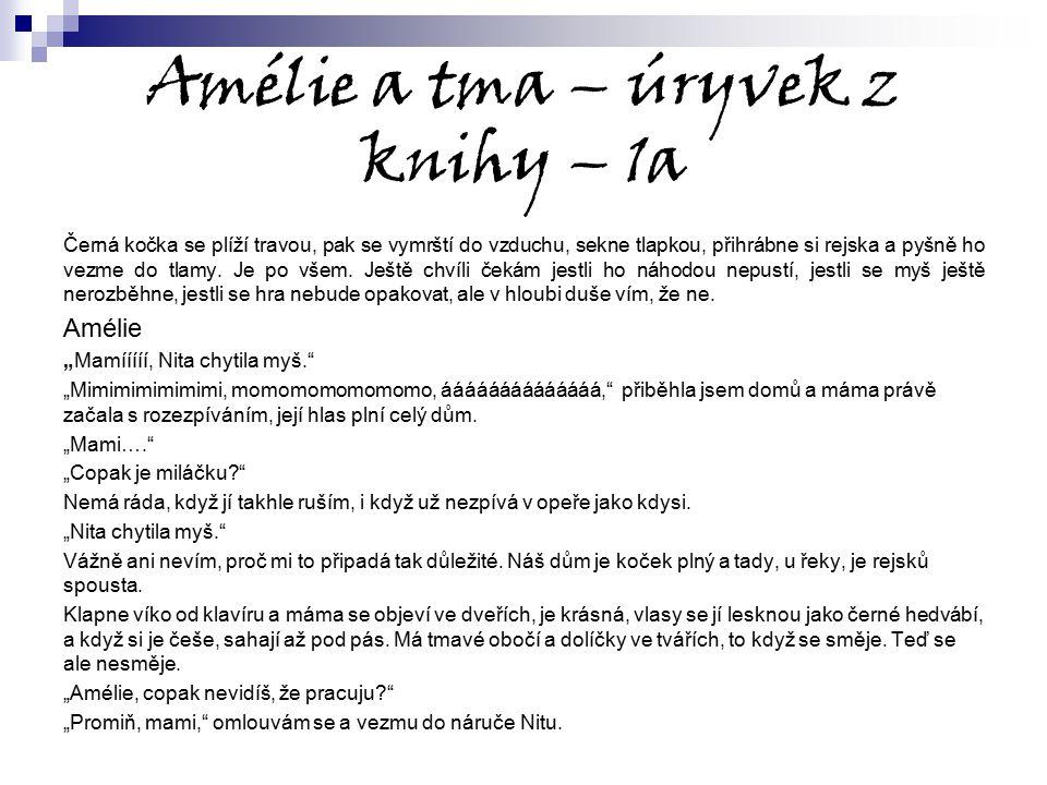 Amélie a tma – úryvek z knihy – 1a Černá kočka se plíží travou, pak se vymrští do vzduchu, sekne tlapkou, přihrábne si rejska a pyšně ho vezme do tlam